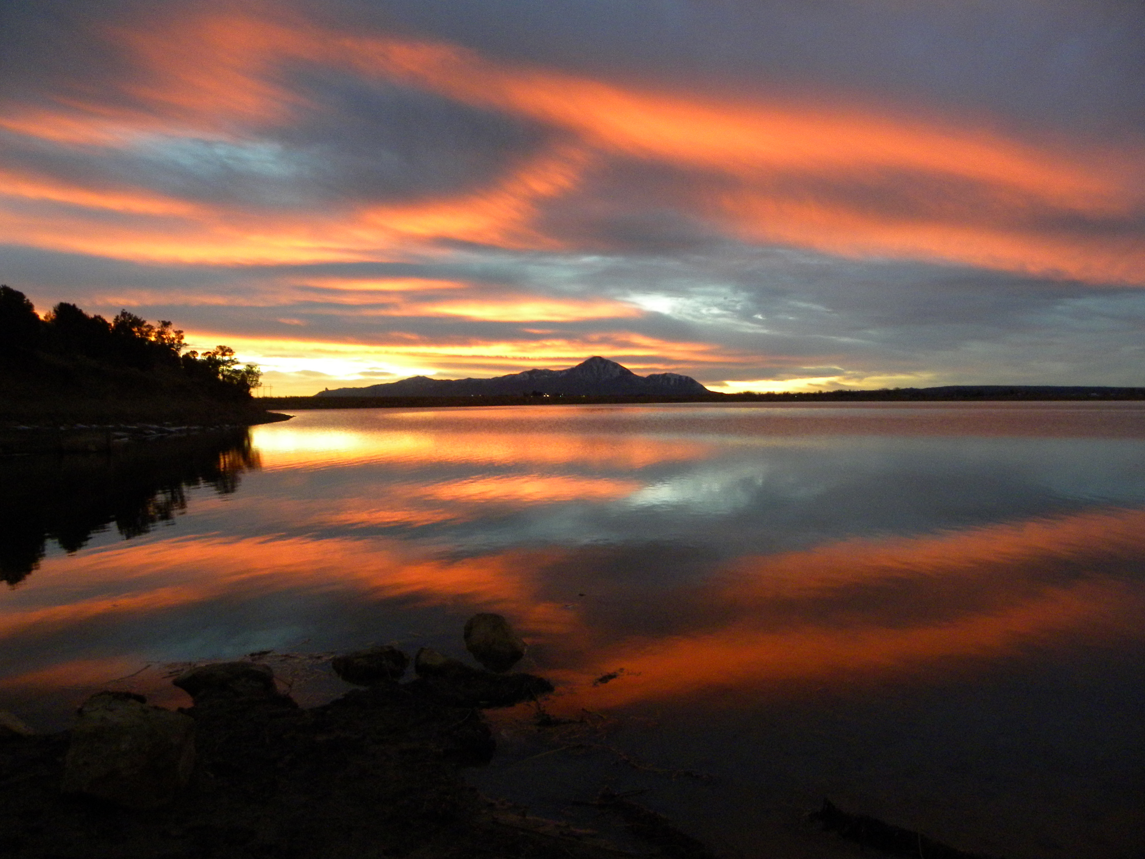 Sleeping Ute Mountain with Totten Lake in Front